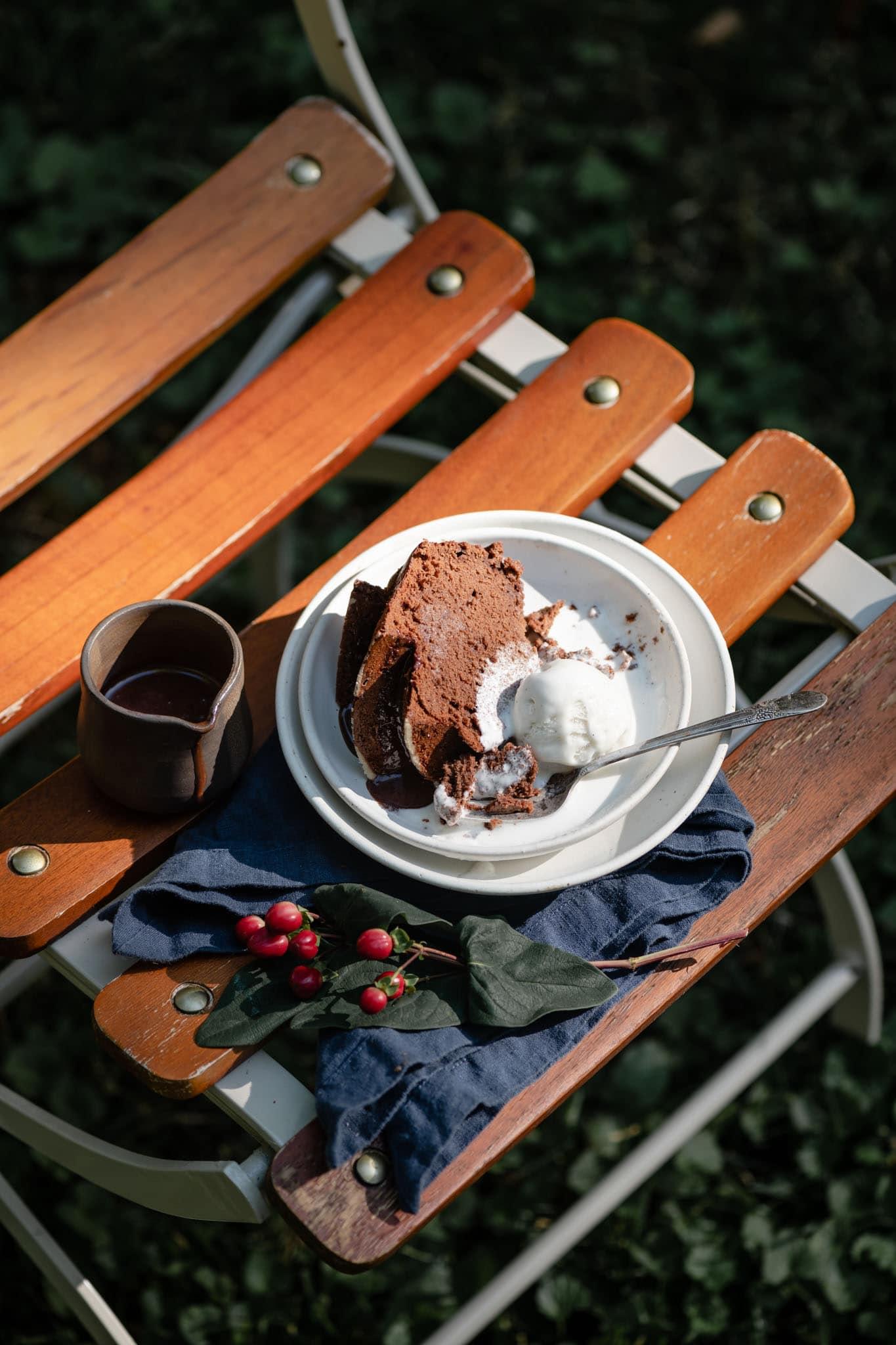 Chocolate cake served with ice cream.