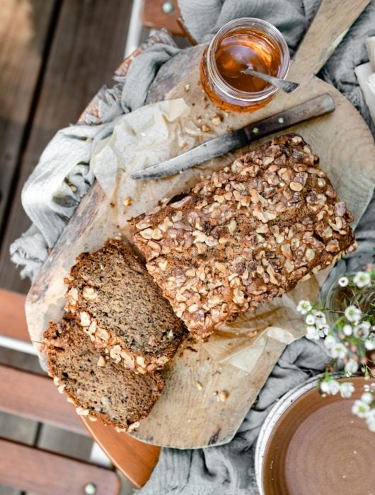 Zucchini bread with walnuts.