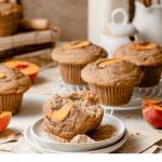 Peach muffins for breakfast in kitchen counter.