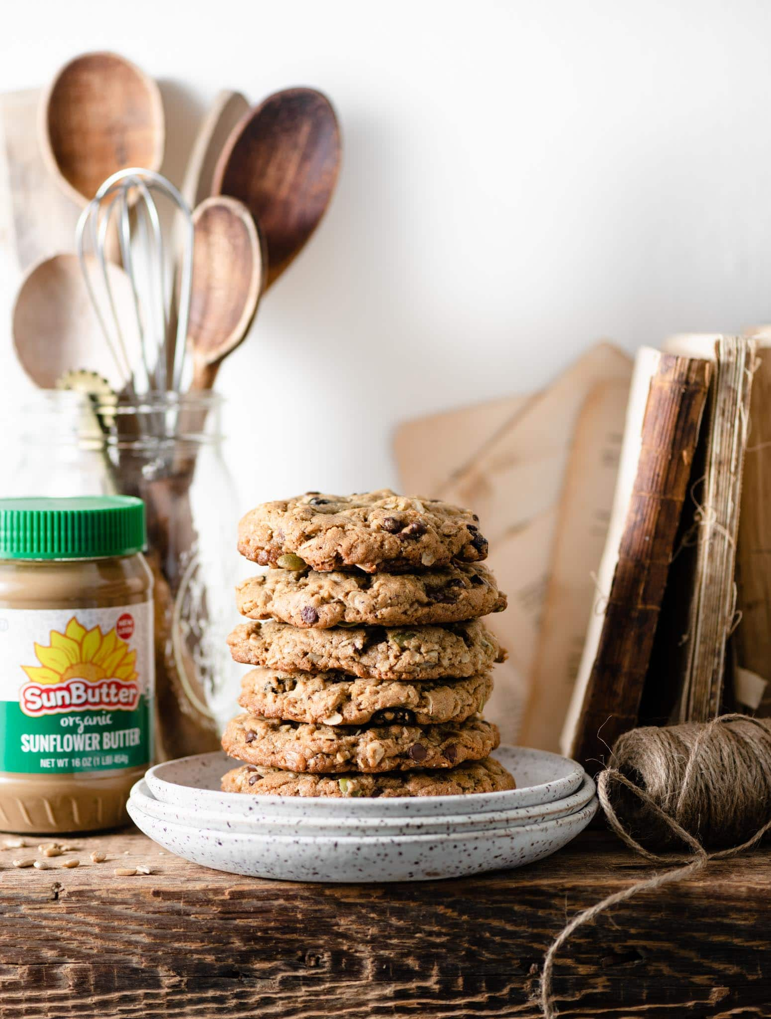 Sunflower butter with oatmeal cookies.