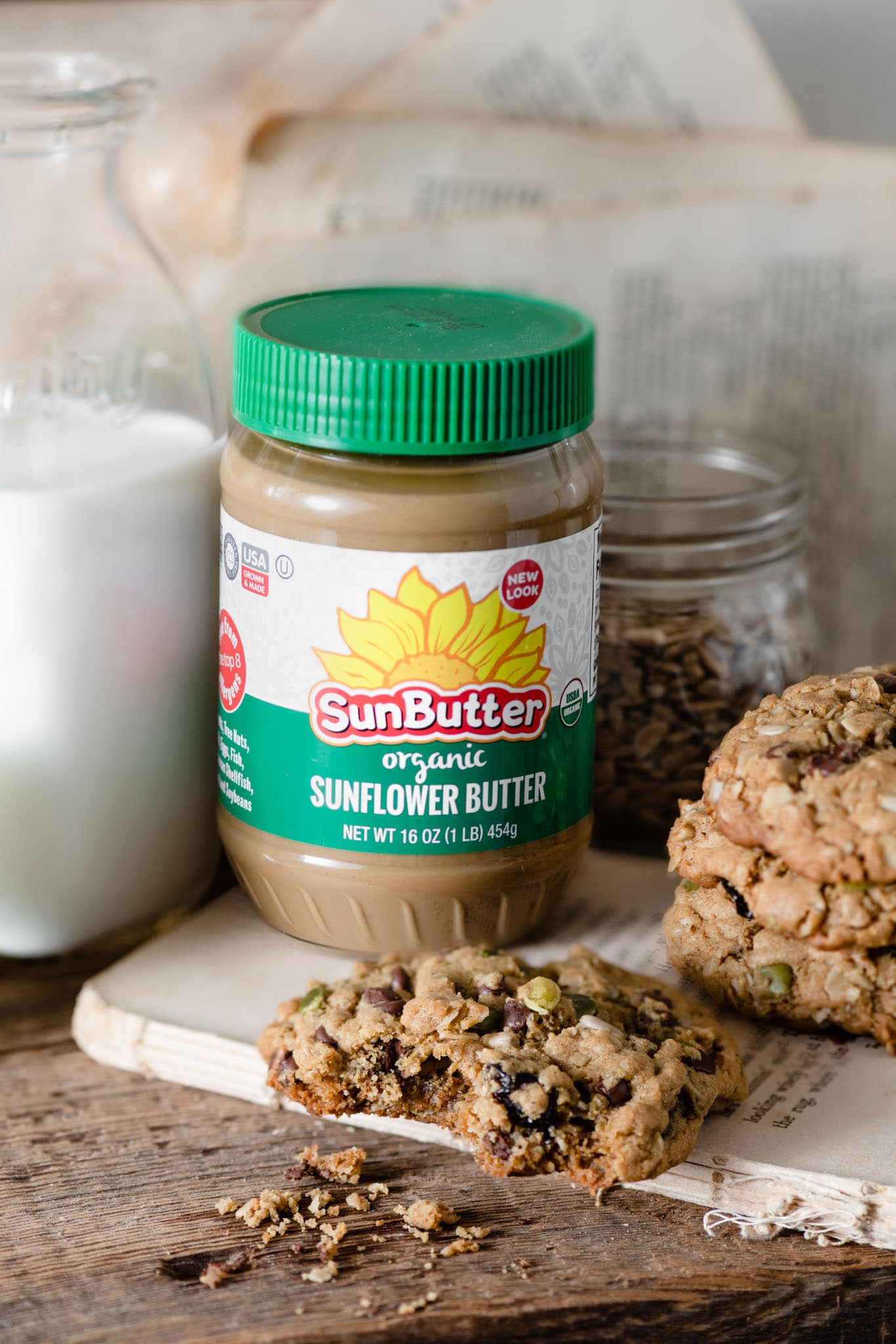 Organic SunButter with oatmeal cookies.