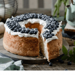 Sliced pound cake with frosting.