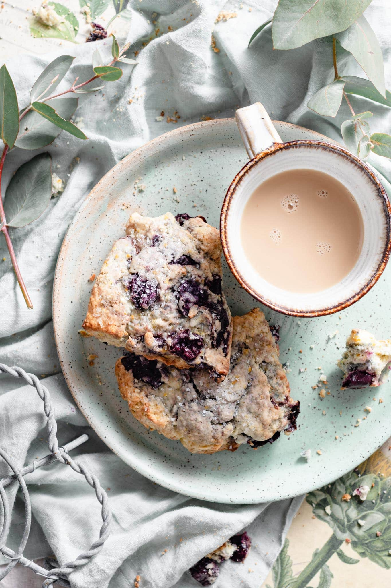 Fresh homemade scones with coffee.