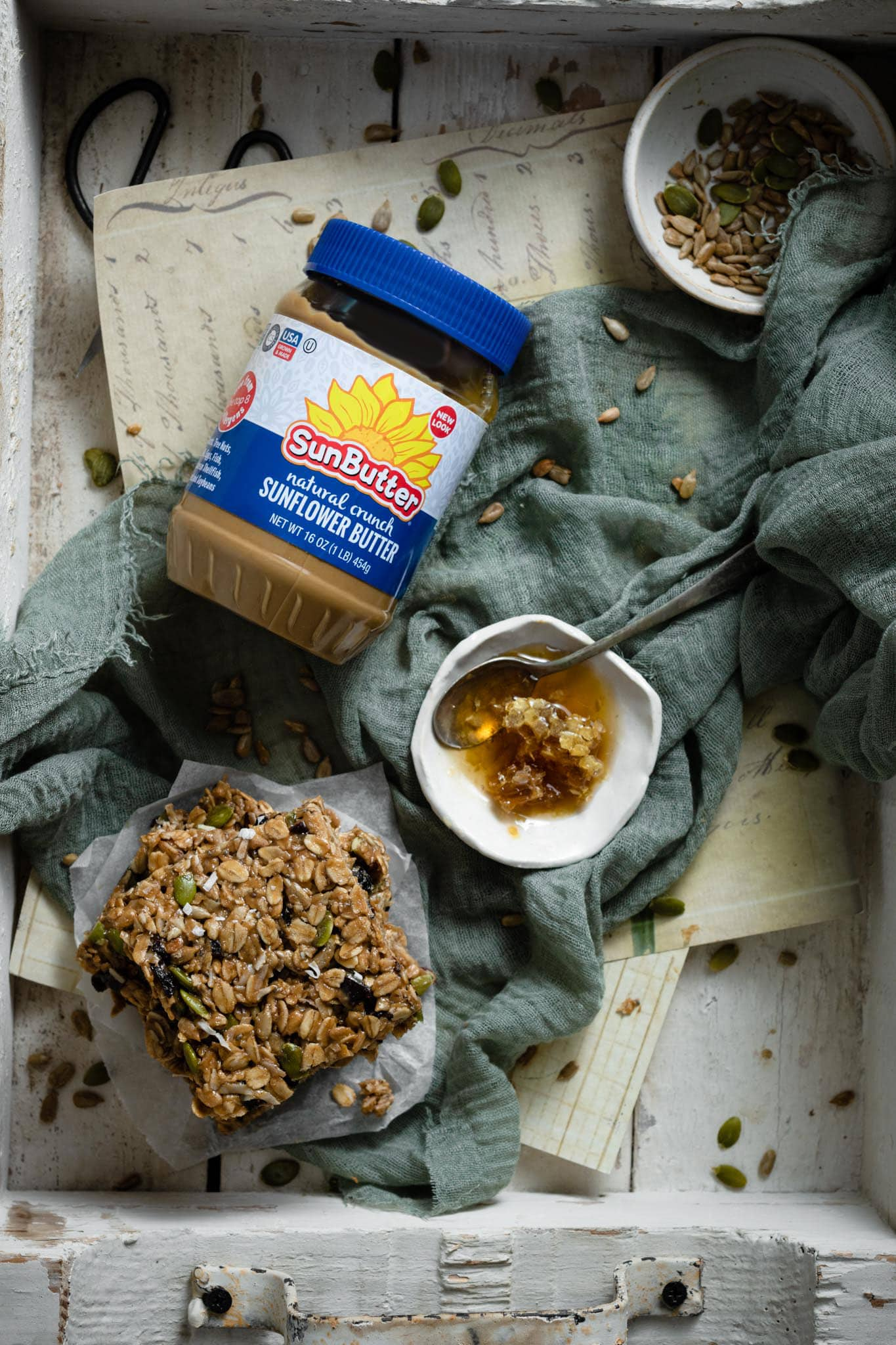 Crunchy SunButter with homemade granola bars.