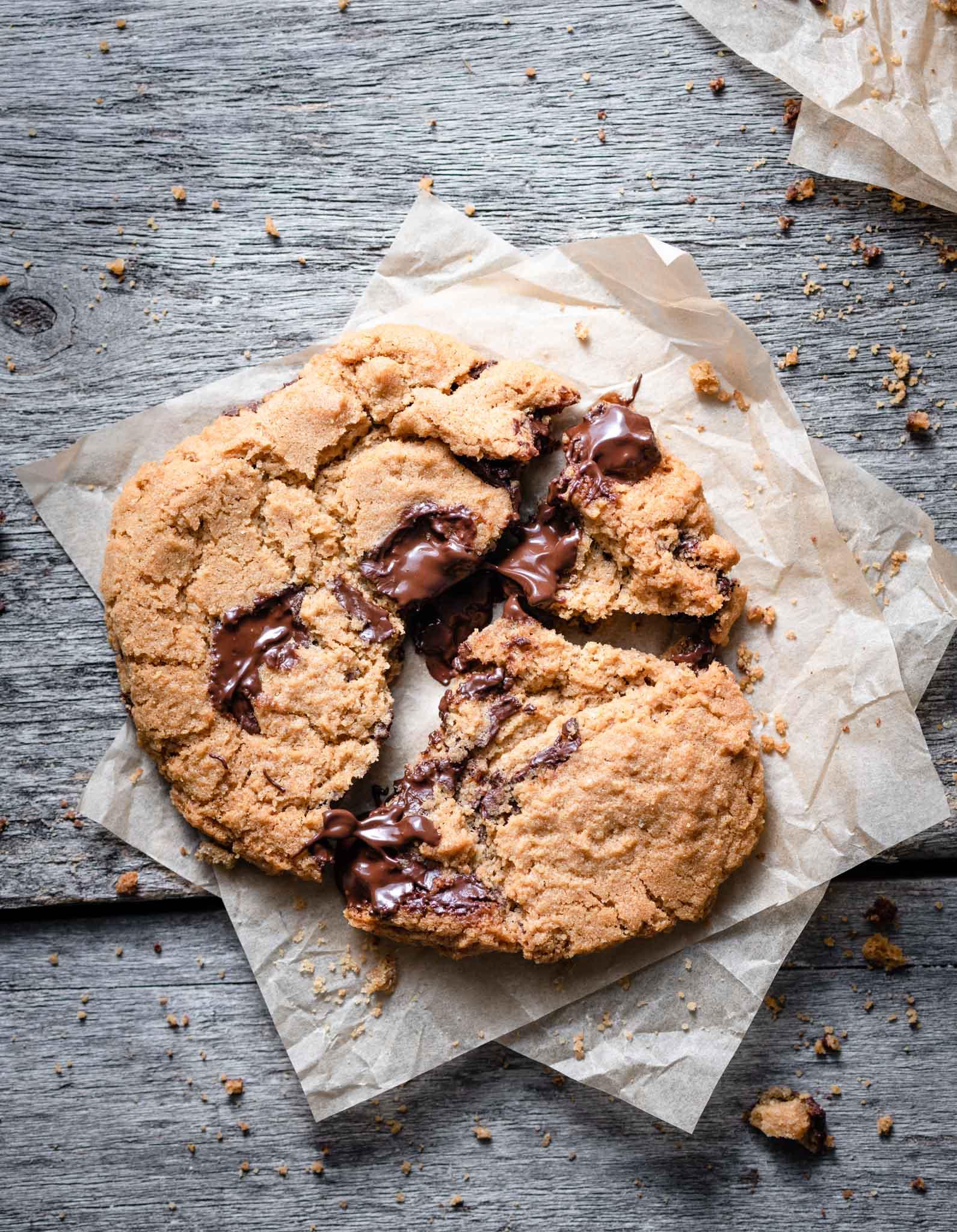 Gooey chocolate chip cookie.