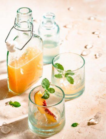 Peach lemonade with fresh mint.