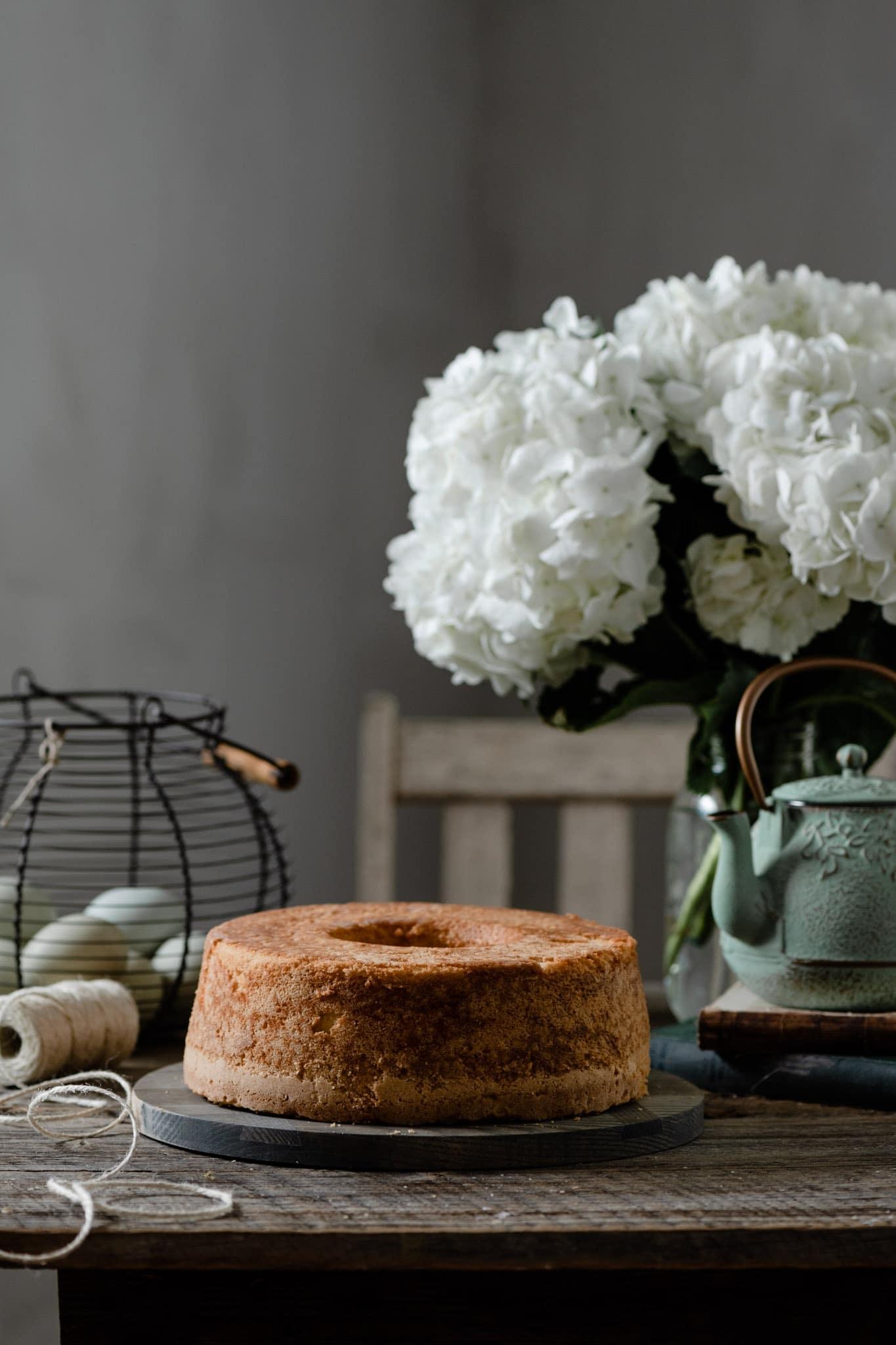 Traditional pound cake recipe on farmhouse table.