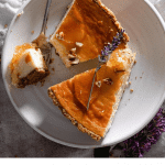 Recipe for honeycomb cheesecake with pecan crust.