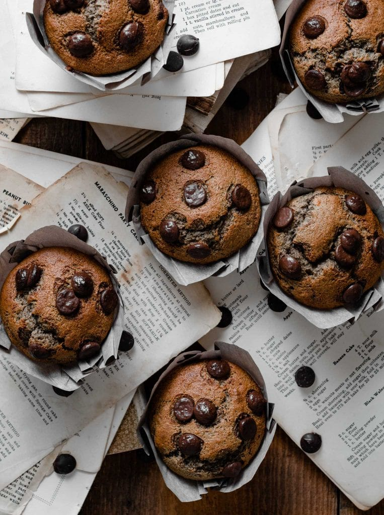 Chocolate chip muffins on recipe pages.