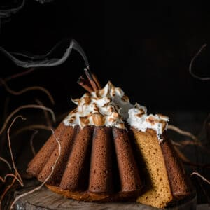 Pumpkin bundt cake with toasted meringue.