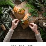 Recipe card for orange ginger mini honey cakes.