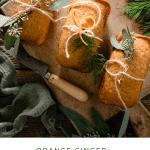 Recipe card for orange ginger honey cakes.