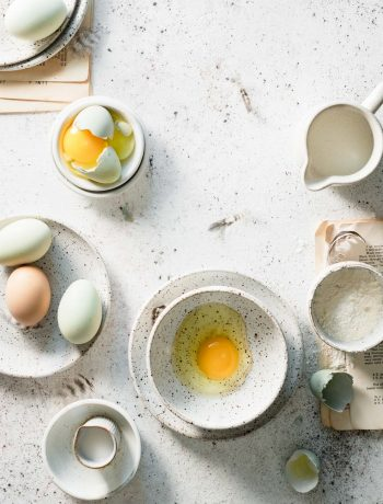 Eggs in a bowl on table.