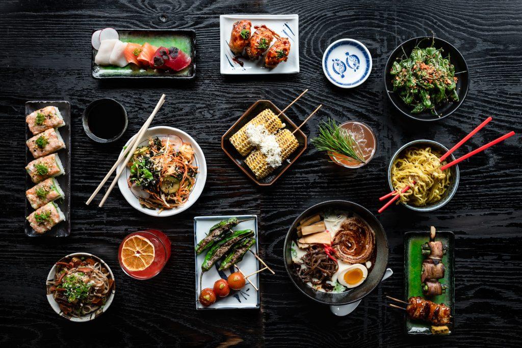 Asian cuisine on table top.