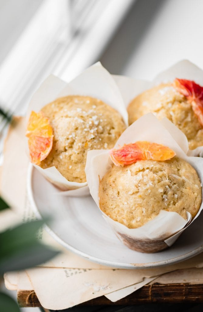Trio of muffins on a white plate.