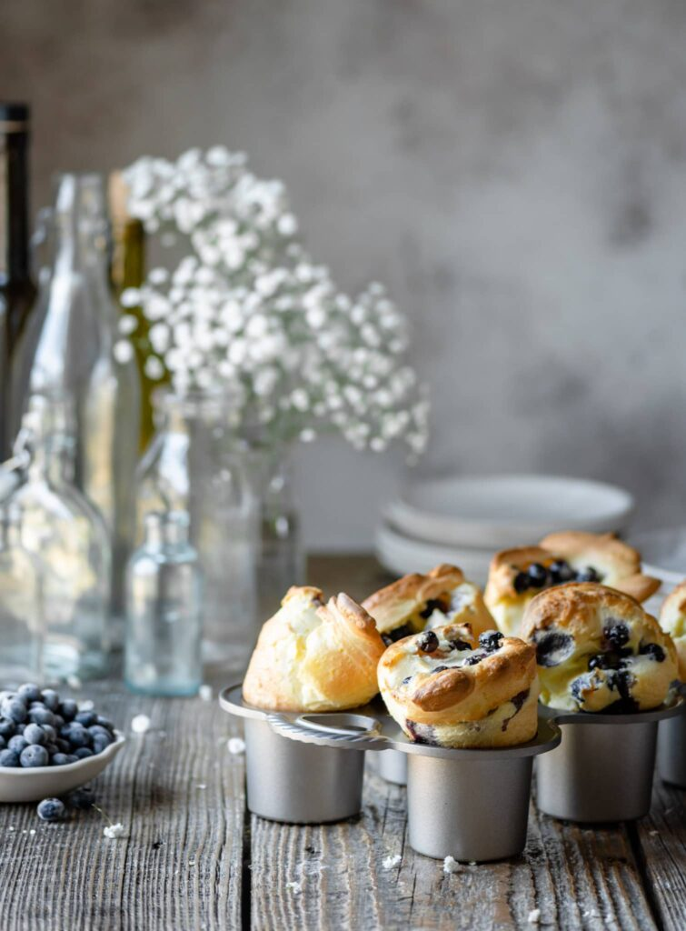Blueberry Popovers in a popover tin.