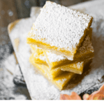Recipe card for lemon bars with shortbread crust.