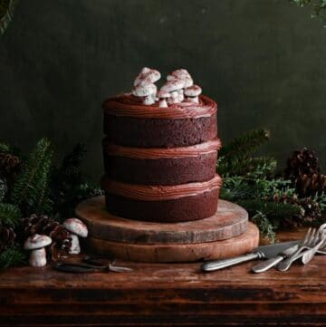 Closeup of a chocolate layer cake on table topped with meringue mushrooms.