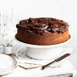 Chocolate frosted single layer cake on white cake stand.