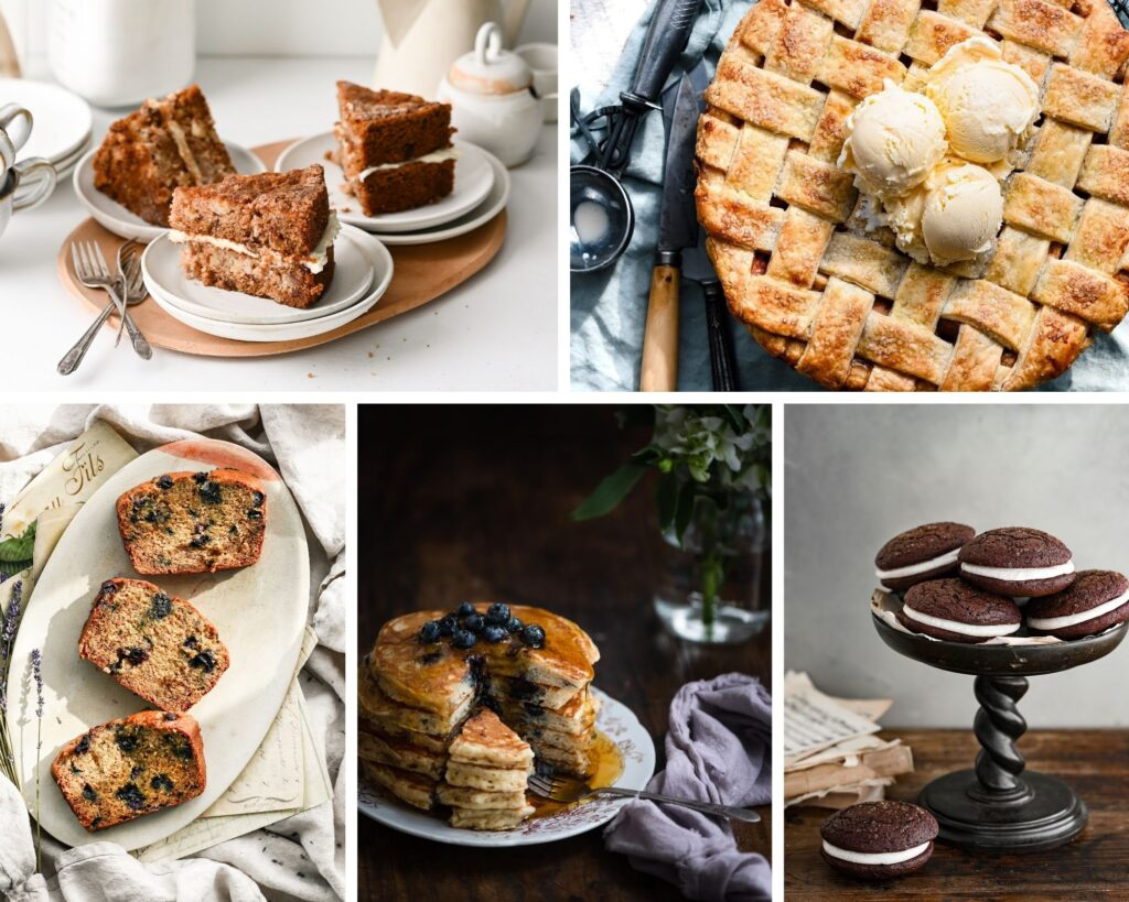 A photo collage of cake slices, pie, cookies, and pancakes.