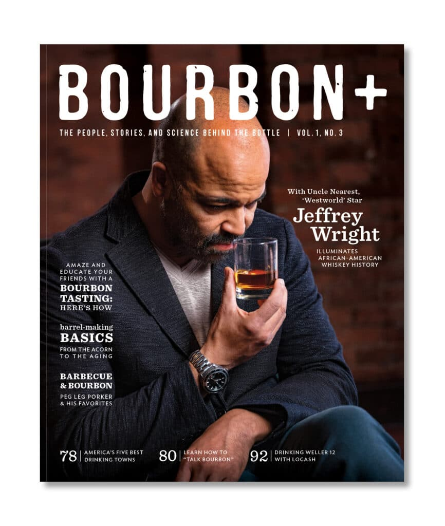 Cover of Bourbon + magazine with a man holding a glass of whiskey.