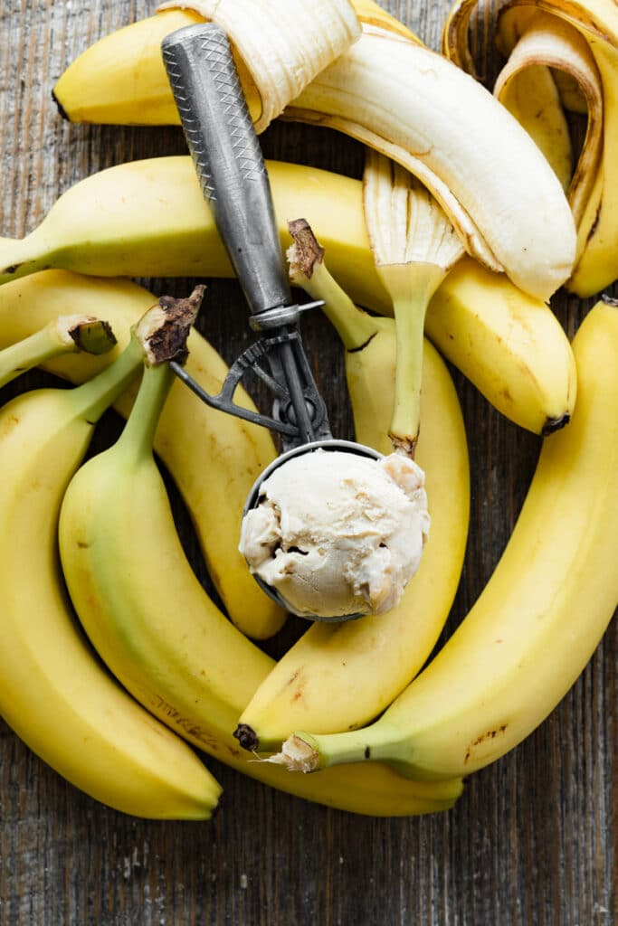 Ice cream scoop filled with ice cream sitting on top a pile of bananas.